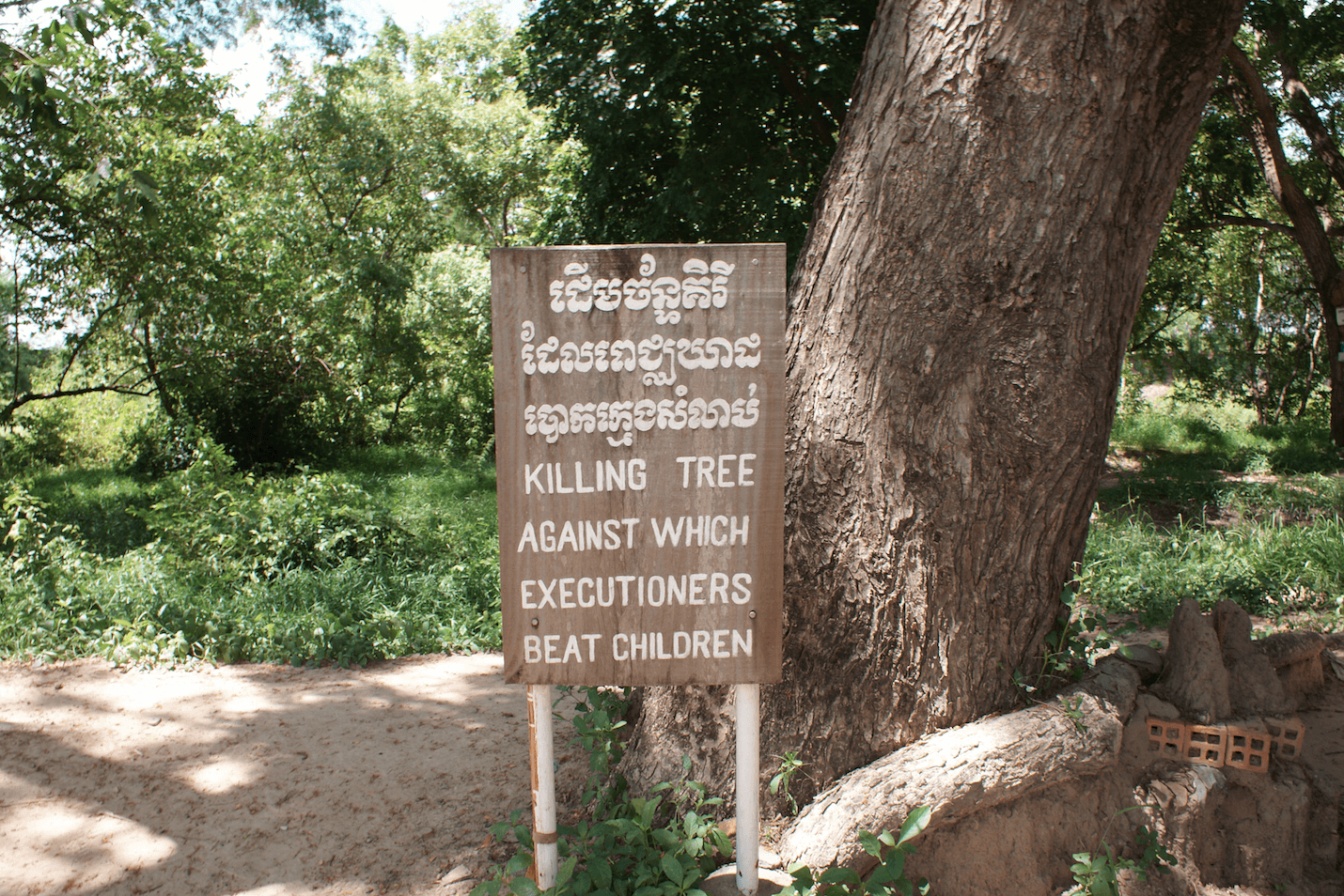 Killing Tree at Choeung Ek, or The Killing Fields, the site of a former orchard and mass grave of victims of the Khmer Rouge, 17 km south of Phnom Penh. Photo by Julie Thi Underhill, 2010.