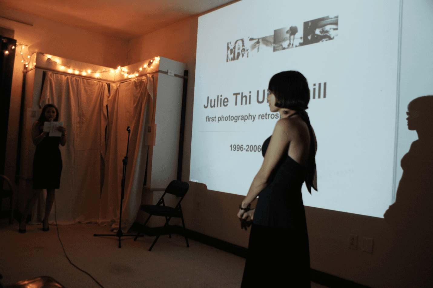 Opening night artist's talk at 'Julie Thi Underhill and Viet Le'