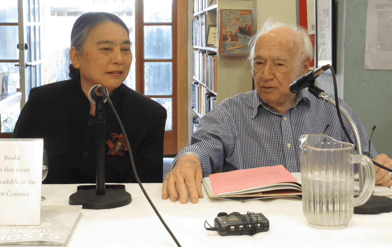 Hung Liu and Peter Selz (photo by Julie Thi Underhill)