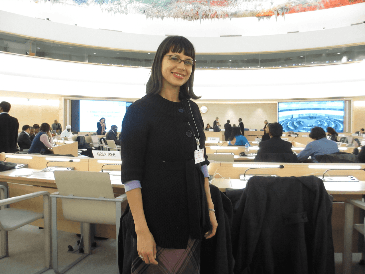Inside the UN Human Rights Council, with an amazing ceiling painted/sculpted by Spanish artist Miquel Barcelo