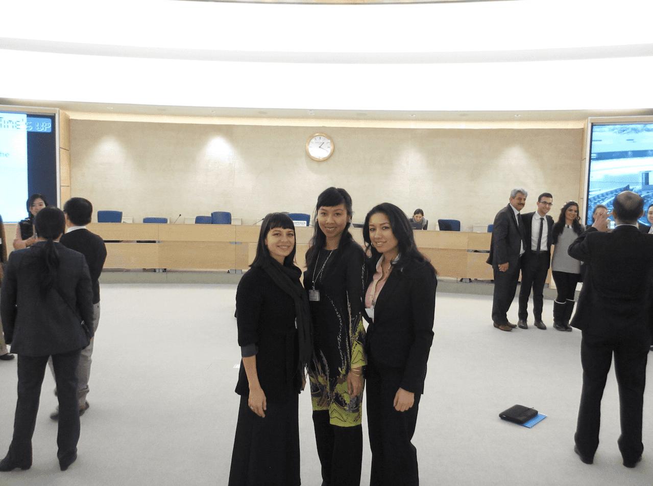 At the UN European Headquarters in Geneva, with fellow IOC delegates Khaleelah and Azizah